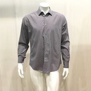 Theory Men's Purple Gingham Button Shirt